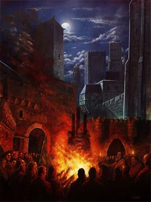 Ilustración de portada de la primera aventura de la trilogía para Aventuras en la Marca del Este