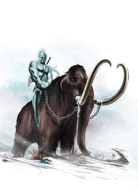 Los gigantes montan mammuts