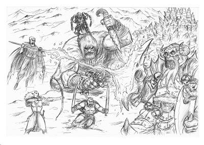 Boceto de portada de El Arca de los Mil Inviernos